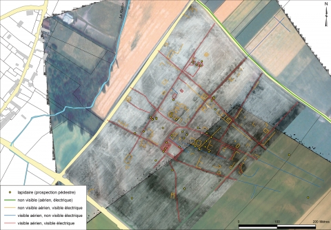 Figure 7: Complementary approach of the aerial photography, field survey (location of stone artifacts) and resistivity survey.