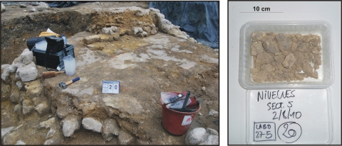 Figure 1 : Example of manual sampling in the foundations of Collegial Holy-Gertrude in Nivelles (Belgium) on the left, and the type of samples on which characterization tests may be performed on the right.