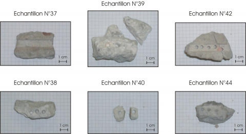 Figure 11: Some examples of samples taken on the Henry VIII Tower and tested with the methodology presented. The groove left by the scratching test and the holes of the micro-drilling tests are visible on several of the samples. To note the size rather reduced of the two small pieces tested for sample number 40, not testable with the scratching test.