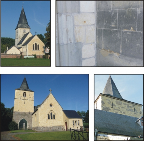 Figure 18: Two examples of substitution of Lincent Limestone by Maastricht Limestone. In top, the Church of Wezeren (Belgium) where the bell-tower was entirely restored out with Maastricht Limestone, while the heart and the nave were preserved in the original Lincent Limestone The junction both parts of the building clearly shows the difference of patina between the both types of limestone. In bottom, the Church of Walsbets (Belgium) shows a patchwork very marked due to the substitution of the original Lincent Limestone by Maastricht Limestone.