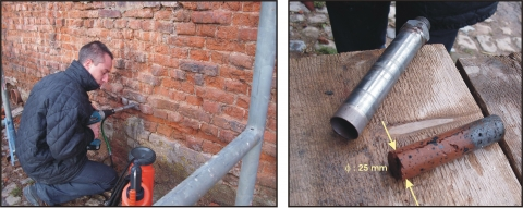Figure2: Brick sampling by small diameter coring with a portable machine in the walls of the Farm of the Abbey of Neufvilles (Belgium) on the left, and example of a sample on the right.