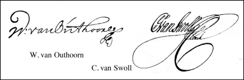 Fig. 1 – Signatures of W. van Outhoorn and C. van Swoll in the van Outhoorn (1696) poster.