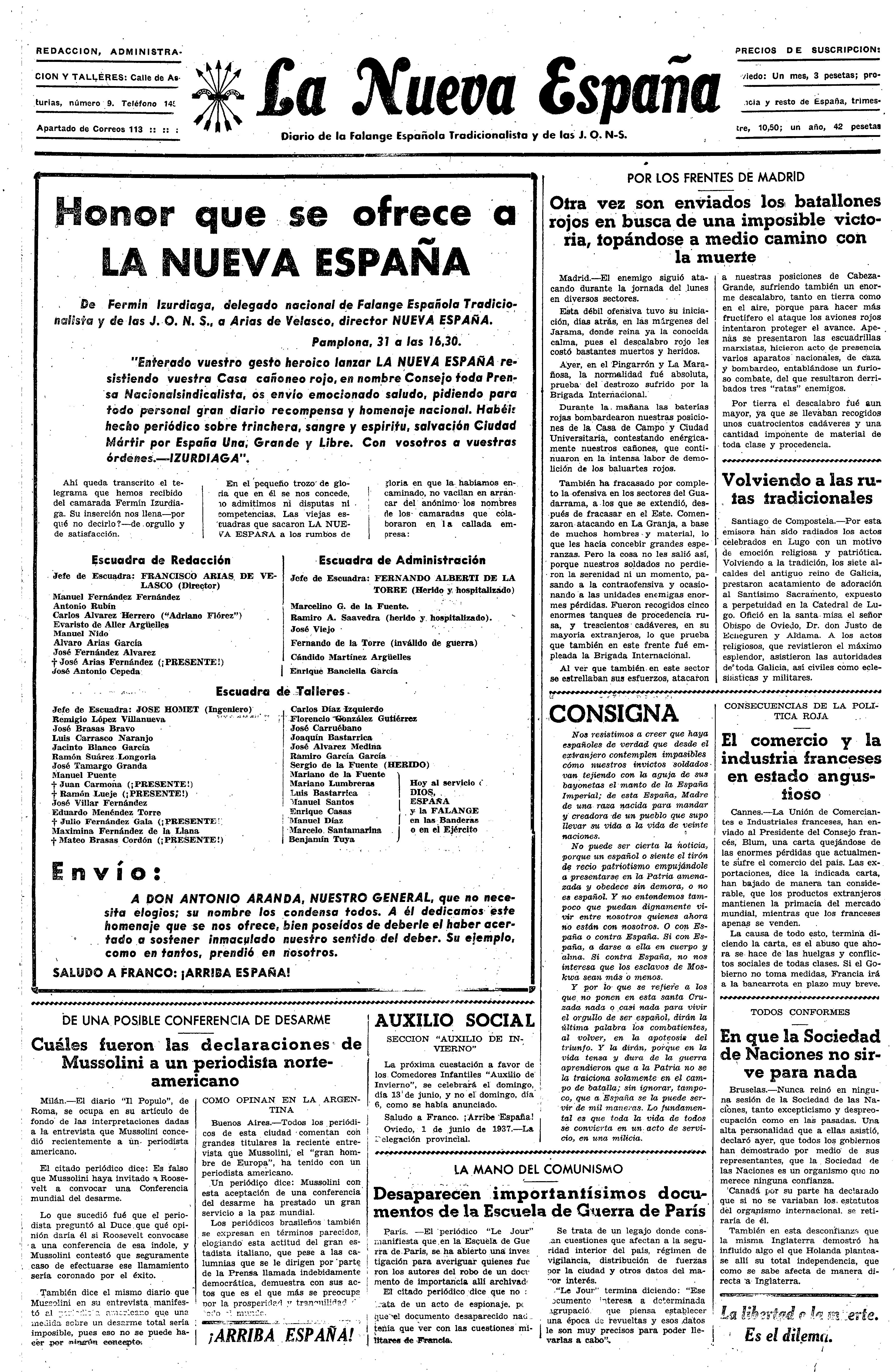 La Nueva España, los inicios de la prensa del Movimiento en Asturias ...