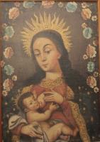 Virgem Maria amamentando menino Jesus