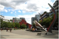 The Olympic Village's central plaza