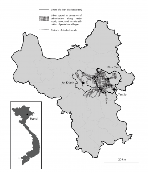 Figure 1: Localization of the three studied wards in Hanoi province