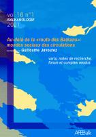 Couverture Balkanologie vol. 16 n° 1