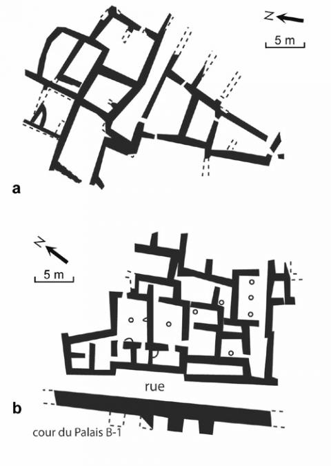 Fig. 6, Houses of the Early Bronze age III. a. Numeira (Coogan, 1984, fig. 1); b. Tel Yarmouth, area G (Miroschedji, 1992, fig. 1).