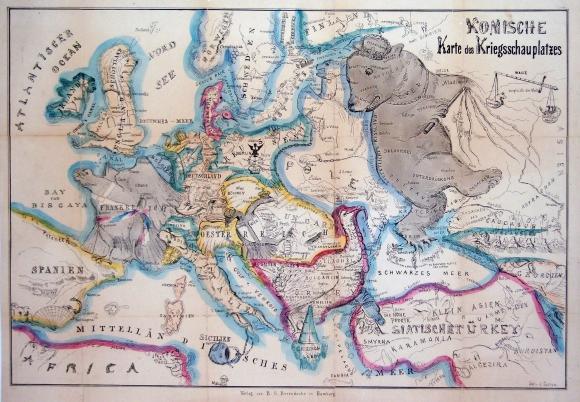 figure 5 g b berendsohn komische karte des kriegsschauplatzes hamburg germany 1854