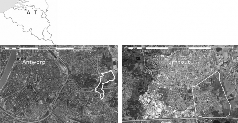 Figure 2. Situating both cases: Ruggeveld-Boterlaar-Silsburg in Antwerp and Schorvoort in Turnhout, aerial view (different scales).