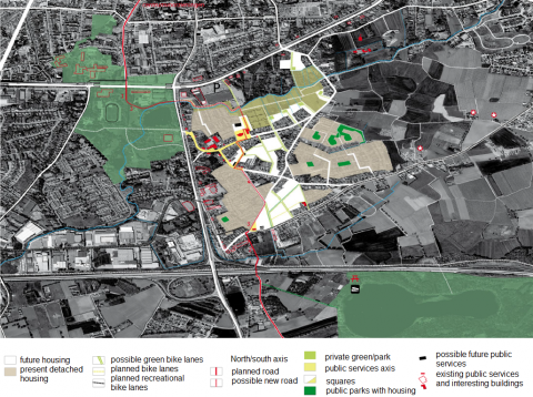 Figure 6. Research by design showing the possible development of public space as a way to clarify landscape structures, KU Leuven-R&D.