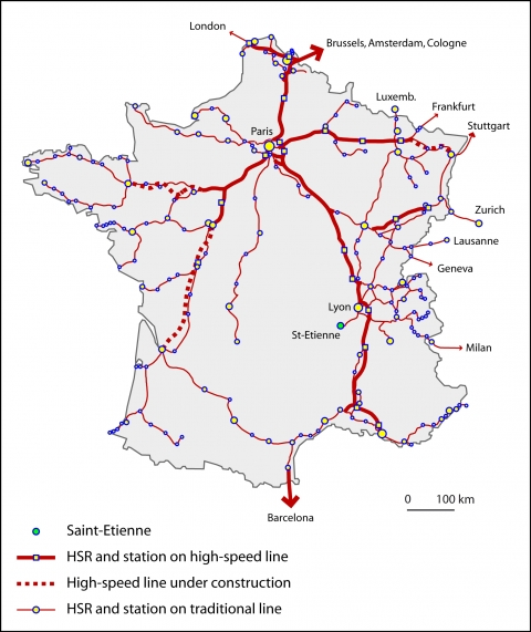 Figure 3. The 2015 France's HSR network.