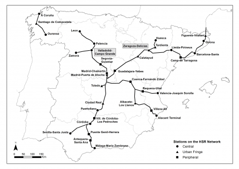Figure 1. Zaragoza and Valladolid in the Spanish HSR context (May 2015).