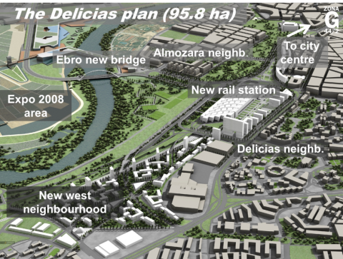 Figure 3. The new railway station and the development plan for Delicias.