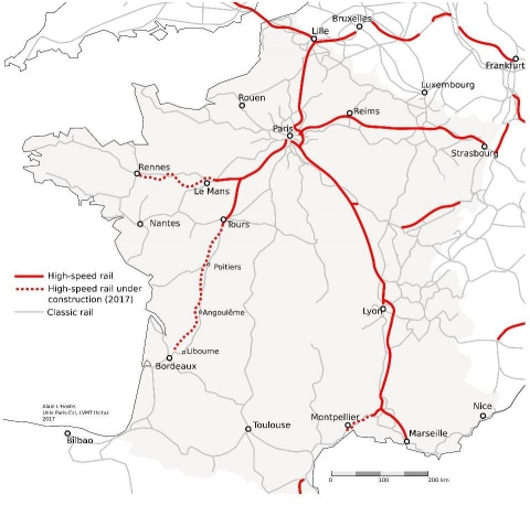 Figure 2. Map of French high-speed rail network opened and under construction in mid-2017.