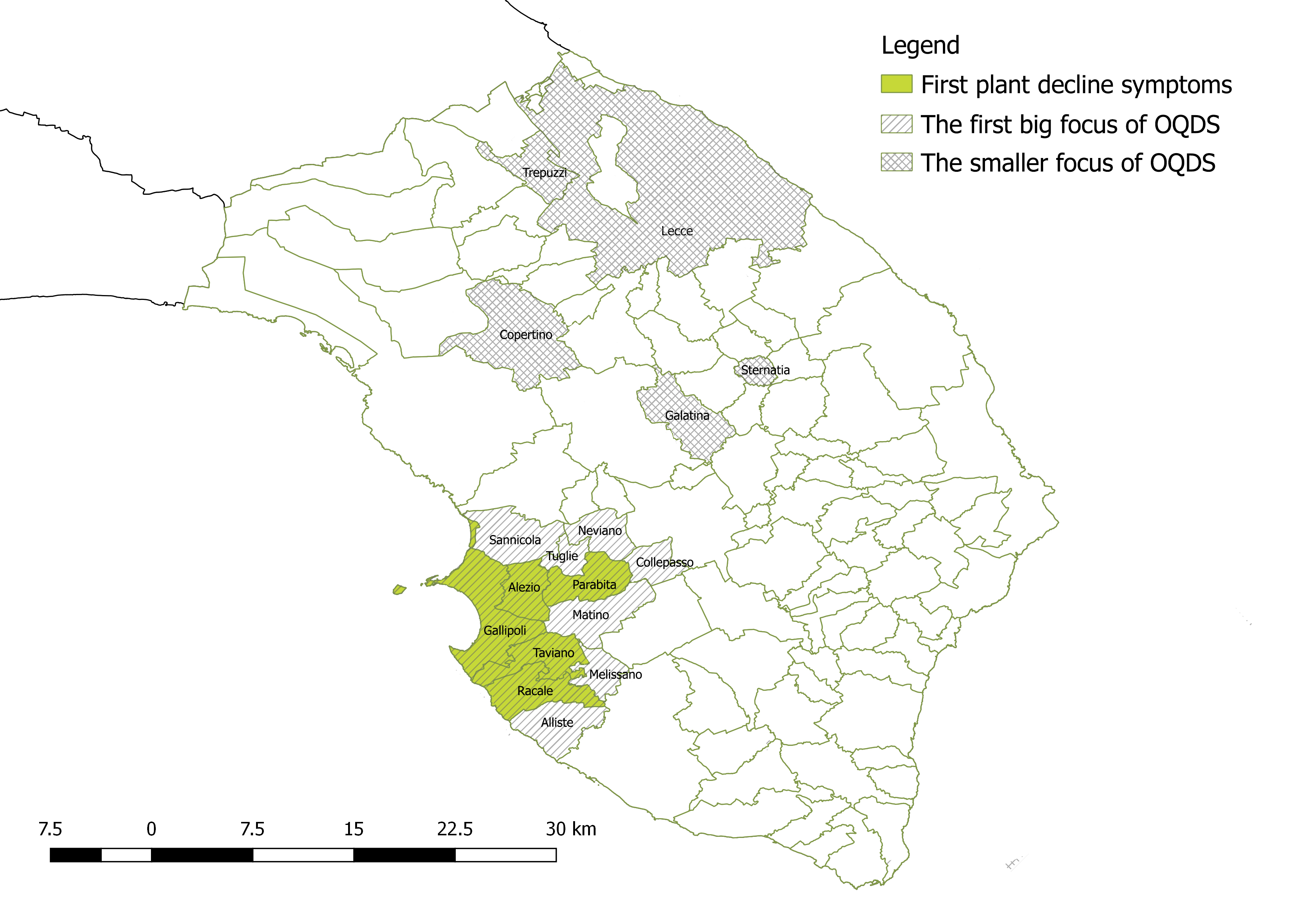 The olive quick decline syndrome (OQDS) diffusion in Apulia Region