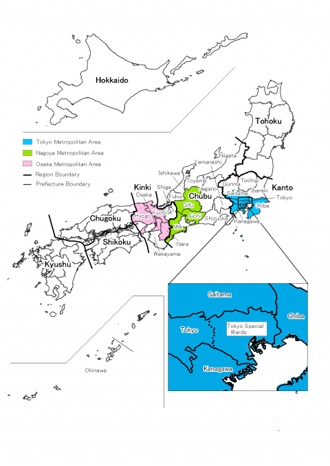 Figure 4. Three Largest Metropolitan Areas and Prefectures of Japan.