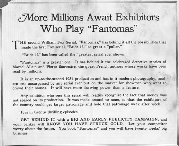 Fantomas 1921 A Tale Of A Lost American Movie Serial