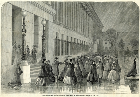 """Lady Clerks Leaving the Treasury Department at Washington – [Sketched by A.R. Waud]"""