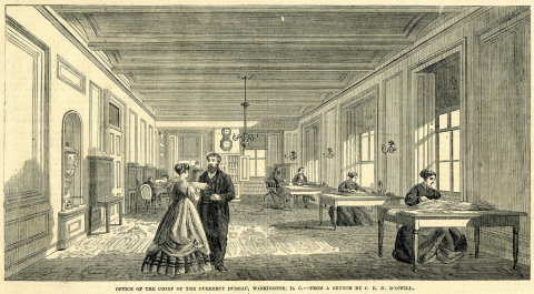 """The Office of the Superintendent of the Currency Bureau, Treasury Building, Washington, D.C."""