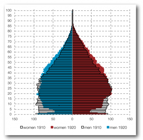 Figure 4. The comparative age pyramids for 1910 and 1920 (for 10 000 inhabitants)