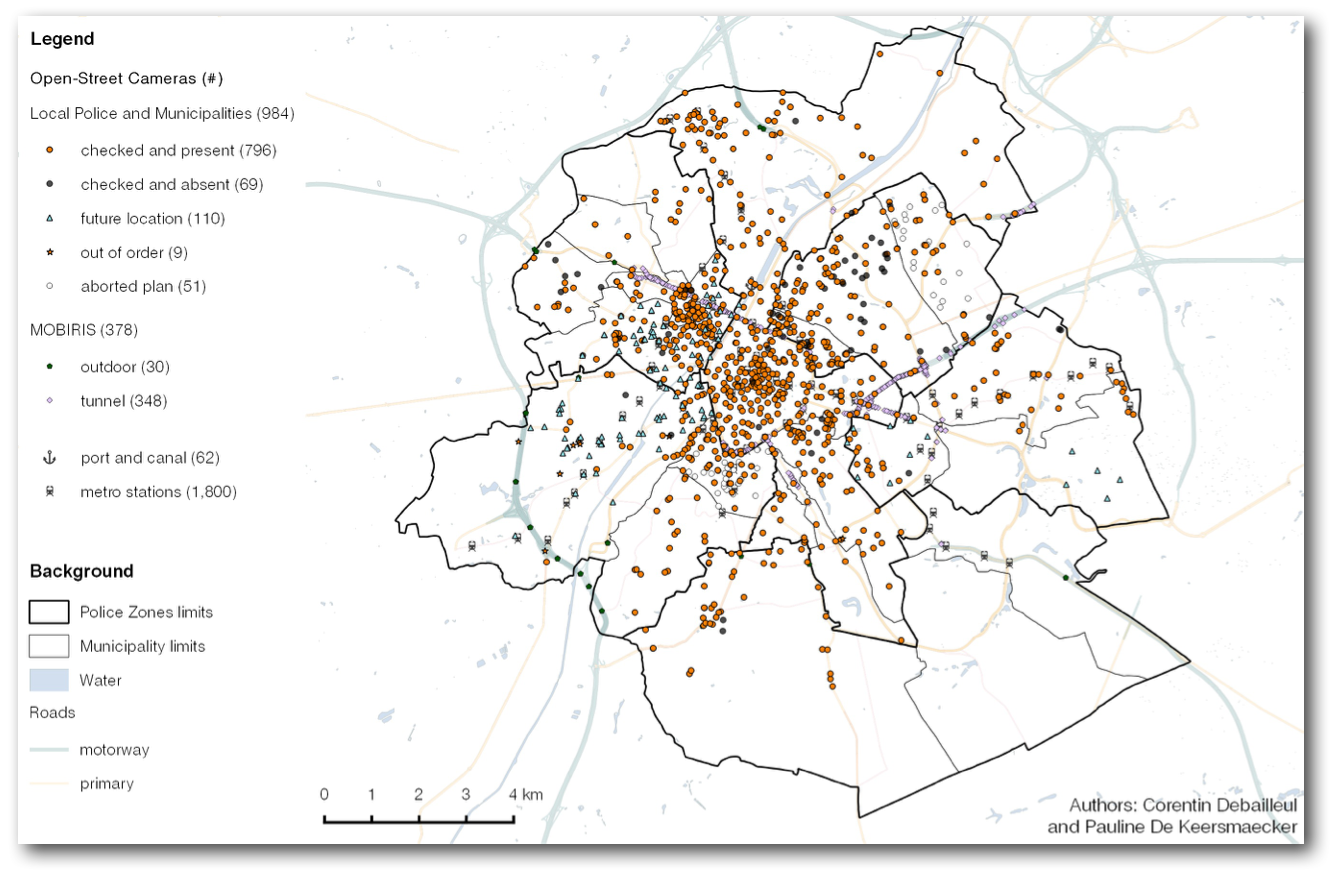 The spatial distribution of open-street CCTV in the Brussels
