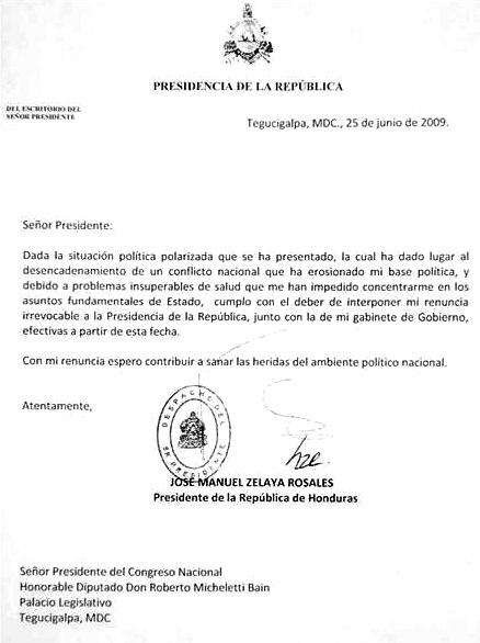 lettre de demission militaire Au delà de Zelaya : les enjeux du coup d'État pour la démocratie  lettre de demission militaire