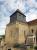 Nozières, église Saint-Paxent, vue d'ensemble de la tour-clocher, avant travaux