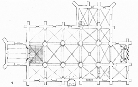 Fig. 9. Plan de l'église Saint-Symphorien de Nuits-Saint-Georges (É. Pallot, ACMH ; in D. Sandron, « Nuits-Saint-Georges. Église Saint-Symphorien », in CAF, 152e session, 1994, Côte-d'Or, Paris, 1998, p. 348).