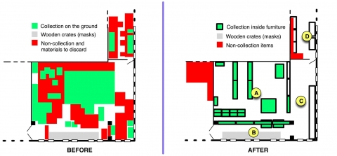 Fig. 12 Section of the floor plan, showing the Janapada Sampada ethnographic collection storage before and after the reorganization