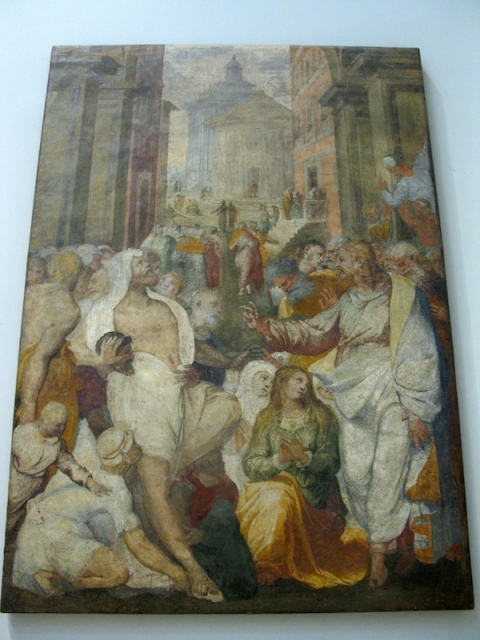 Fig. 15 Perino del Vaga, Raising of Lazarus, 1538-39, detached fresco, Victoria and Albert Museum, London