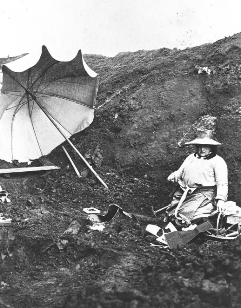 Fig. 1 The Duchess of Mecklenburg on archeological site of Stična