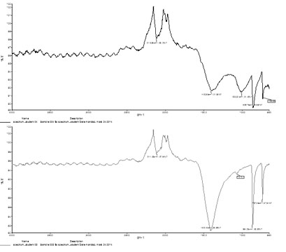 Fig. 2 Fourier transform infrared spectra of the newly precipitated corrosion products