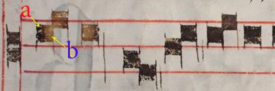 Fig.10. LIBS examination of iron-gall ink inscription on page 120 verso