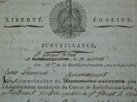 Lettre de Jean Lacomme, commissaire du directoire exécutif auprès l'administration de Rochefort-sur-Loire au citoyen commissaire central du département de Maine-et-Loire, 27 Messidor an VII (15 juillet 1799)