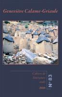 Couverture Cahiers de littérature orale 83