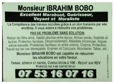 Figure 5 Flyer Dun Marabout Se Presentant Comme Moraliste
