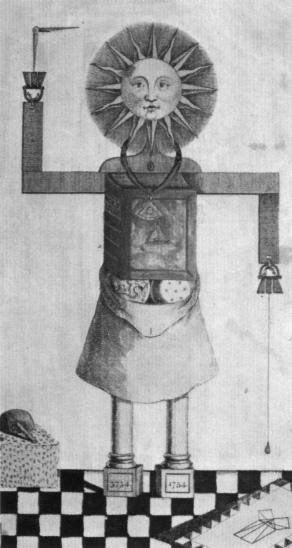 Franc-maçon formé par les outils de sa loge (gravure anglaise du XVIIIe siècle, Bibliothèque nationale, Paris)