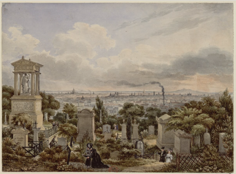 Figura 4 - Vista do Père-Lachaise. À esquerda, monumento do General Foy, 1829.