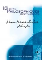 Couverture du n° 44| 2018, Johann Heinrich Lambert: philosophie