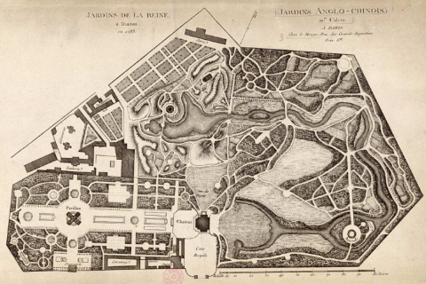 Fig. 1 : « Jardins de la Reine à Trianon en 1783 », in Georges Louis Le Rouge, Jardins anglo-chinois : Xe cahier, Paris, Le Rouge, 1783.