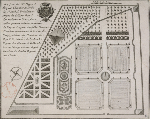 Fig. 4 : Plan du jardin royal des plantes de Nancy, in P.-J. Buc'hoz, Plantes de Nancy.