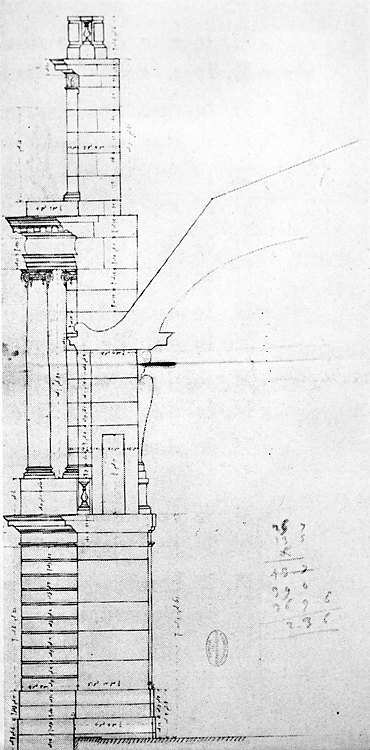 Fig. 10 : Coupe de la paroi ouest de la chapelle de 1682, vers 1684. Paris, Archives nationales, O1 17886, no 92.