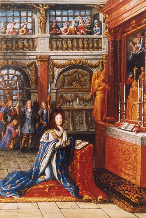 Fig. 17 : Louis XIV en prière, enluminure du second volume des Heures de Louis le Grand, 1693. Paris, Bibliothèque nationale de France, Manuscrits, lat. 9477, fol. Bv°.