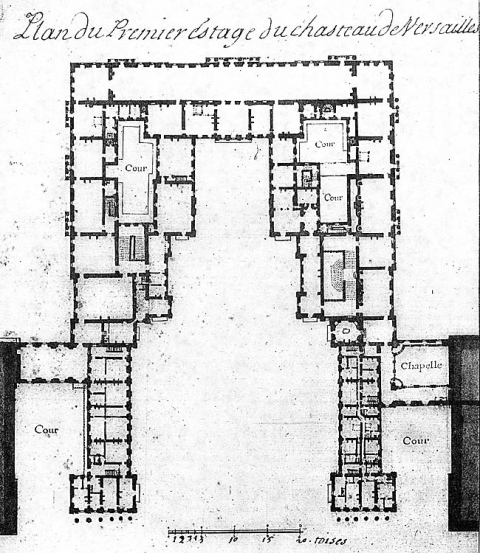 Fig. 2 : « Plan du premier estage du chasteau de Versailles », vers 1695. Paris, Bibliothèque nationale de France, département des Estampes et de la photographie, Va 78e, fol., t. I.