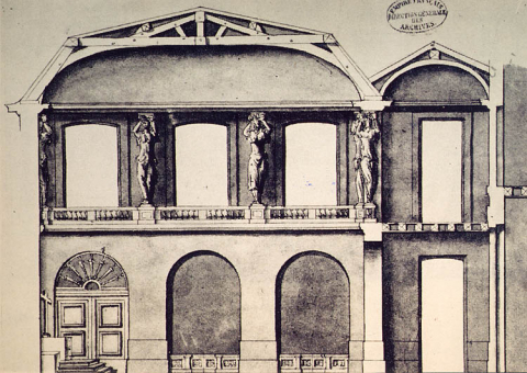 Fig. 7 : Coupe d'un projet pour la chapelle de 1682, 1681. Paris, Archives nationales, O1 17831, no 6.