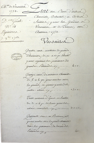 Fig. 1 : Première page de la commande de regarnis de 1753. Paris, Archives nationales, O1 21031, no 68.