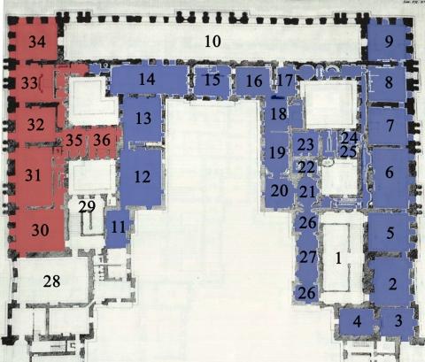 Fig.3: Jean-François Blondel, Plan du premier étage et de l'avant-cour du château de Versailles dans lequel sont compris les appartements du Roi et ceux de la Reine (détail), vers 1735, in C.-N. Cochin (graveur) et J.F.Blondel, Architecture françoise […], Paris, C.A.Jombert, 1752-1756 (plan coloré et numéroté par l'auteur).