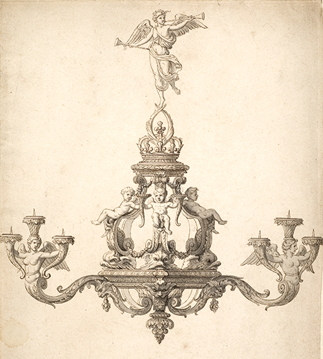 Fig. 14 : Nicolas Delaunay (atelier de), Lustre « à la Renommée », vers 1678. Stockholm, Nationalmuseum, collection Cronstedt, CC 1549.