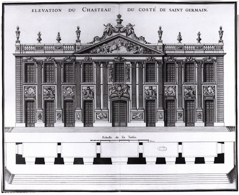 Fig. 11 : Anonyme, « Elevation du Chasteau du Costé de Saint Germain », octobre 1714. Paris, Archives nationales, O1 1472, no 4.